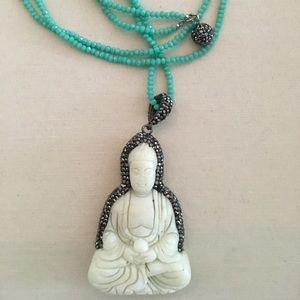 Jewelry - Turquoise bead necklace with jade Buddha pendant